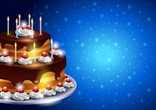 Birthday Cake with Candles on Blue Background Royalty Free Stock Images