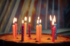 Birthday cake with candles. Birthday cake with burning candles Stock Photography