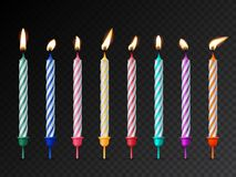 Birthday cake candles with burning flames isolated on dark transparent background. Vector design elements. royalty free stock photo