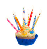 Birthday cake with candles. Birthday cake with burning candles isolated on white background Stock Photos