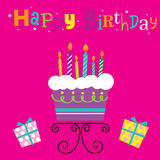 Birthday Cake with Candles. Can be used for Greeting card, invitation Royalty Free Stock Images
