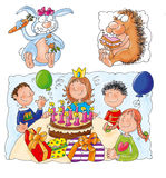 Birthday with cake and candles, children's party . Royalty Free Stock Photography