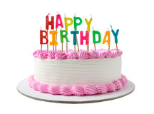 Birthday cake. With candles clipping path stock photography