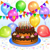 Birthday cake with candles, color balloons, confetti and flags Royalty Free Stock Photos