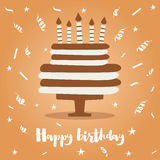 Birthday Cake with Candles and Confetti. Stock Images