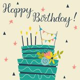 Birthday cake and candles stock photos