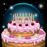 Birthday cake with candles and decoration. Vector illustration. Royalty Free Stock Images