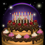 Birthday cake with candles and decoration. Vector illustration. Stock Image