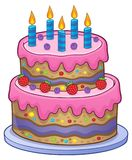 Birthday cake with 5 candles Royalty Free Stock Image