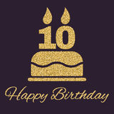 The birthday cake with candles in the form of number 10. Birthday symbol. Gold sparkles and glitter Stock Photography
