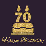 The birthday cake with candles in the form of number 70 icon. Birthday symbol. Flat. Vector illustration Stock Images