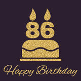 The birthday cake with candles in the form of number 86 icon. Birthday symbol. Flat. Vector illustration Stock Images