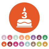 The birthday cake with candles in the form of number 3 icon. Birthday symbol. Flat. Vector illustration. Button Set Stock Photography