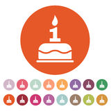 The birthday cake with candles in the form of number 1 icon. Birthday symbol. Flat. Vector illustration. Button Set Royalty Free Stock Photos