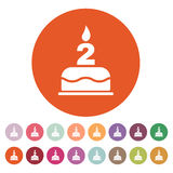 The birthday cake with candles in the form of number 2 icon. Birthday symbol. Flat. Vector illustration. Button Set Royalty Free Stock Photography