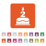 The birthday cake with candles in the form of number 2 icon. Birthday symbol. Flat. Vector illustration. Button Set Stock Photo