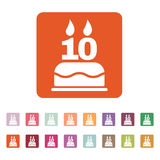 The birthday cake with candles in the form of number 10 icon. Birthday symbol. Flat Stock Photography