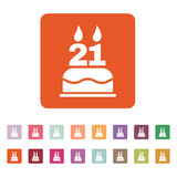 The birthday cake with candles in the form of number 21 icon. Birthday symbol. Flat. Vector illustration. Button Set Royalty Free Stock Image