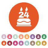 The birthday cake with candles in the form of number 24 icon. Birthday symbol. Flat. Vector illustration. Button Set Stock Photos