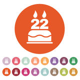The birthday cake with candles in the form of number 22 icon. Birthday symbol. Flat Stock Image