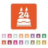 The birthday cake with candles in the form of number 24 icon. Birthday symbol. Flat. Vector illustration. Button Set Royalty Free Stock Photo