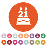 The birthday cake with candles in the form of number 21 icon. Birthday symbol. Flat. Vector illustration. Button Set Royalty Free Stock Photography