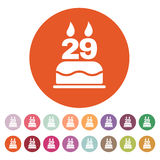 The birthday cake with candles in the form of number 29 icon. Birthday symbol. Flat Royalty Free Stock Photography