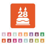 The birthday cake with candles in the form of number 28 icon. Birthday symbol. Flat Stock Photos