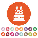 The birthday cake with candles in the form of number 28 icon. Birthday symbol. Flat Royalty Free Stock Image