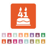The birthday cake with candles in the form of number 41 icon. Birthday symbol. Flat Royalty Free Stock Photo
