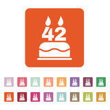 The birthday cake with candles in the form of number 42 icon. Birthday symbol. Flat. Vector illustration. Button Set Stock Photo