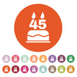 The birthday cake with candles in the form of number 45 icon. Birthday symbol. Flat. Vector illustration. Button Set Royalty Free Stock Images