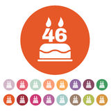 The birthday cake with candles in the form of number 46 icon. Birthday symbol. Flat. Vector illustration. Button Set Stock Images