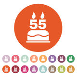 The birthday cake with candles in the form of number 55 icon. Birthday symbol. Flat Stock Image