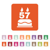 The birthday cake with candles in the form of number 57 icon. Birthday symbol. Flat Stock Photos