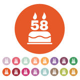 The birthday cake with candles in the form of number 58 icon. Birthday symbol. Flat. Vector illustration. Button Set Royalty Free Stock Images