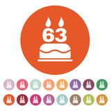 The birthday cake with candles in the form of number 63 icon. Birthday symbol. Flat. Vector illustration. Button Set Stock Photography