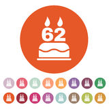 The birthday cake with candles in the form of number 62 icon. Birthday symbol. Flat. Vector illustration. Button Set Stock Image