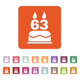 The birthday cake with candles in the form of number 63 icon. Birthday symbol. Flat. Vector illustration. Button Set Stock Photos
