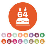 The birthday cake with candles in the form of number 64 icon. Birthday symbol. Flat. Vector illustration. Button Set Stock Photo