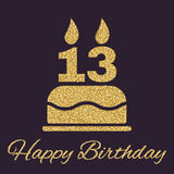 The birthday cake with candles in the form of number 13 icon. Birthday symbol. Gold sparkles and glitter Stock Images