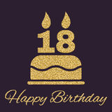 The birthday cake with candles in the form of number 18 icon. Birthday symbol. Gold sparkles and glitter. Vector illustration stock illustration