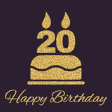 The birthday cake with candles in the form of number 20 icon. Birthday symbol. Gold sparkles and glitter Stock Photography