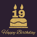 The birthday cake with candles in the form of number 19 icon. Birthday symbol. Gold sparkles and glitter Royalty Free Stock Image