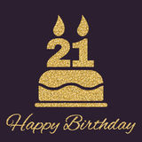 The birthday cake with candles in the form of number 21 icon. Birthday symbol. Gold sparkles and glitter Stock Photography