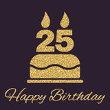 The birthday cake with candles in the form of number 25 icon. Birthday symbol. Gold sparkles and glitter Royalty Free Stock Image