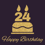 The birthday cake with candles in the form of number 24 icon. Birthday symbol. Gold sparkles and glitter. Vector illustration Stock Photo