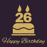 The birthday cake with candles in the form of number 26 icon. Birthday symbol. Gold sparkles and glitter Royalty Free Stock Photography