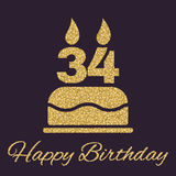 The birthday cake with candles in the form of number 34 icon. Birthday symbol. Gold sparkles and glitter. Vector illustration Royalty Free Stock Photography