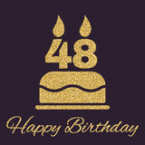 The birthday cake with candles in the form of number 48 icon. Birthday symbol. Gold sparkles and glitter. Vector illustration Royalty Free Stock Photos
